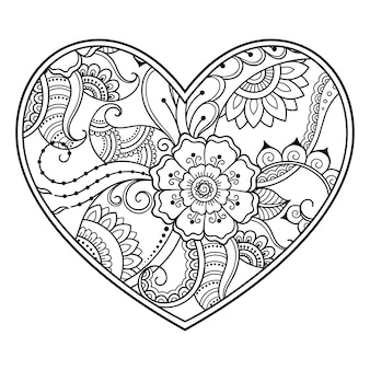 Mehndi flower pattern in form of heart with lotus for henna drawing and tattoo. decoration in ethnic oriental, indian style. coloring book page.