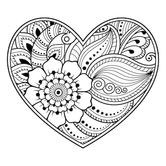Mehndi flower pattern in form of heart with lotus for henna drawing and tattoo.