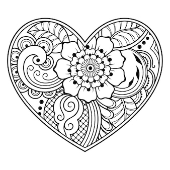 Mehndi flower pattern in form of heart with lotus for henna illustration