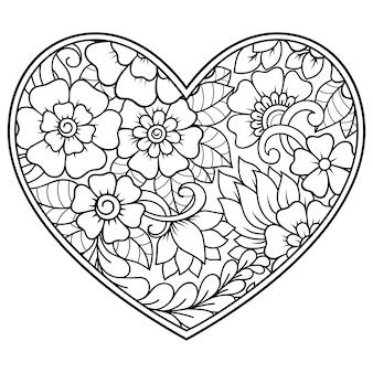 ハートの形の一時的な刺青の花のパターン。エスニックオリエンタル、インド風の装飾。本ページを着色。