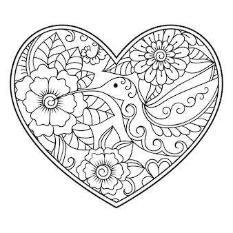 ハートの形の一時的な刺青の花柄。エスニックオリエンタル、インドスタイルの装飾。