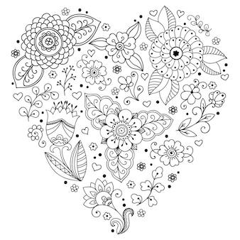 ヘナの描画とタトゥーのためのハートの形の一時的な刺青の花のパターン。エスニックオリエンタル、インドスタイルの装飾。