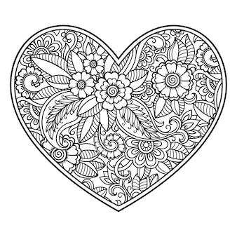 蓮とハートの形の一時的な刺青の花のパターン。エスニックオリエンタル、インド風の装飾。本ページを着色。