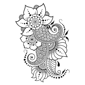 Mehndi flower pattern and mandala for henna drawing and tattoo.