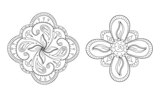 Менди цветок круглый орнамент хна рисованной татуировки мандала этнические восточные цветочные украшения