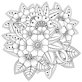 민족 오리엔탈 스타일의 멘디 꽃 t