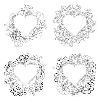 Mehndi flower with frame in shape of heart   in ethnic oriental style coloring page
