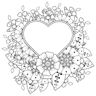 Mehndi flower with frame in shape of heart  in ethnic oriental style doodle ornament coloring book page