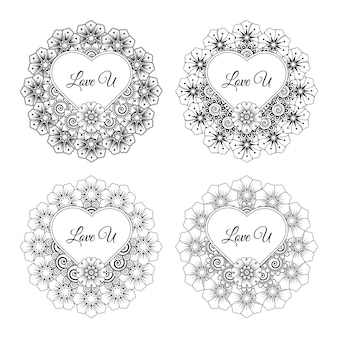 Mehndi flower with frame in shape of heart  in ethnic oriental style doodle ornament. hand draw illustration coloring page