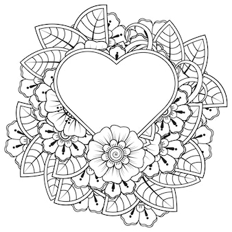 Mehndi flower with frame in shape of heart for henna mehndi tattoo decoration