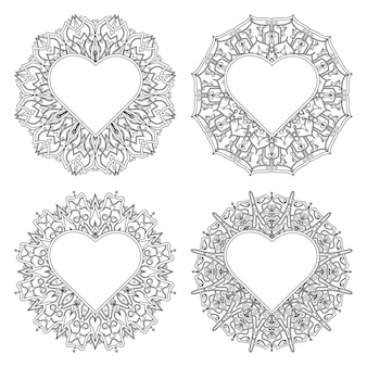 Mehndi flower with frame in shape of heart. mehndi flower   in ethnic oriental style doodle hand draw illustration