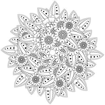 Цветы менди в этническом стиле. наброски рисованной окраски страницы.