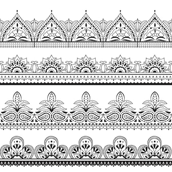 Mehndi indian design. henna oriental seamless borders.