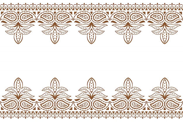 Mehndi. indian embroidery design wuth henna ornament.