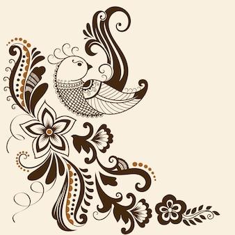 Векторная иллюстрация орнамент mehndi. традиционный индийский стиль, декоративные цветочные элементы для татуировки хны, наклейки, дизайн mehndi и йоги, открытки и принты. абстрактные цветочные векторные иллюстрации.