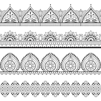 Mehndi seamless borders. henna oriental patterns. indian floral frames