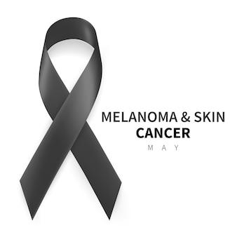 Melanoma and skin cancer awareness month. realistic black ribbon symbol.