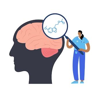 Логотип химической формулы мелатонина. контроль цикла сна и бодрствования. нейротрансмиттер и гормон