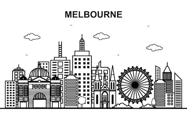 Melbourne city australia cityscape skyline line outline