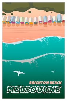Melbourne vector travel poster brighton beach