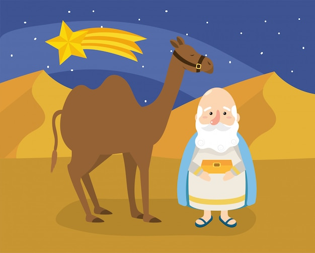 Melchior magician king with gold and camel