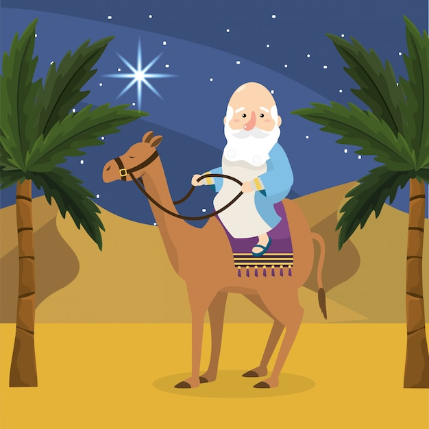 Melchior ride camel with palm trees