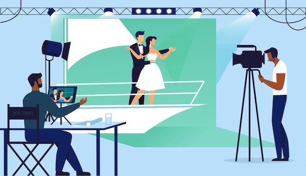 Melodramatic scene filming illustration