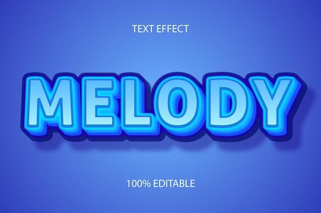 Цвет мелодии синий редактируемый текстовый эффект