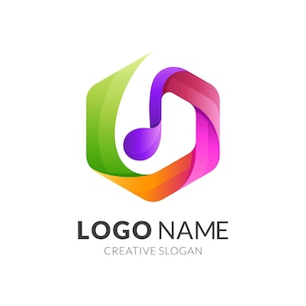 Melody logo and hexagon icon template, colorful design