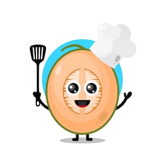 Melon chef cute character mascot