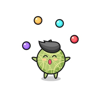 The melon fruit circus cartoon juggling a ball , cute style design for t shirt, sticker, logo element
