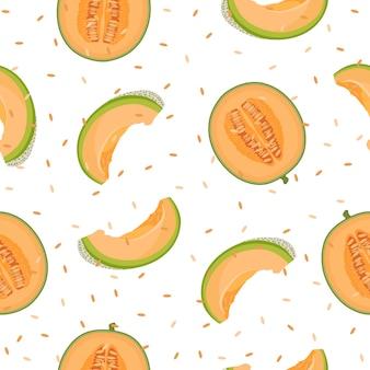 Melon half  seamless pattern