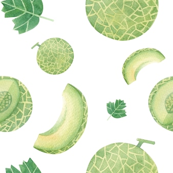 Melon handdrawn seamless pattern