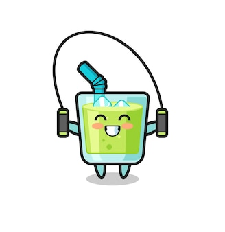 밧줄을 건너뛰는 멜론 주스 캐릭터 만화, 티셔츠, 스티커, 로고 요소를 위한 귀여운 스타일 디자인