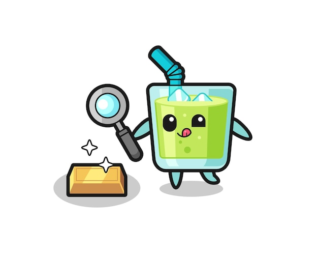 Melon juice character is checking the authenticity of the gold bullion , cute style design for t shirt, sticker, logo element