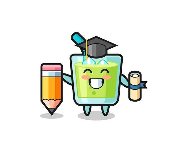 メロンジュースイラスト漫画は巨大な鉛筆、tシャツ、ステッカー、ロゴ要素のかわいいスタイルのデザインで卒業です