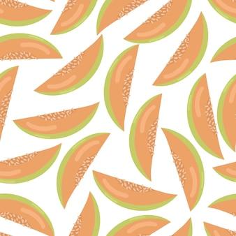 멜론 원활한 패턴 흰색 배경에 고립