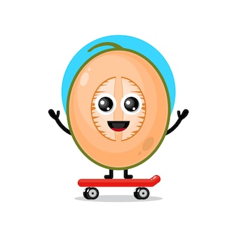 Melon skateboarding cute character mascot