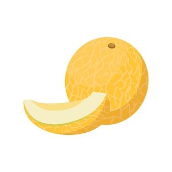 멜론 전체 과일과 건강한 다이어트 디저트 스낵 노란색 과일을 위한 반 또는 웨지 달콤한 음식 프리미엄 벡터