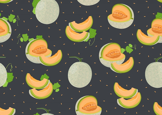 Melon whole and slice seamless pattern