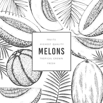 Melons with tropical leaves design