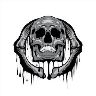 Melt skull head vector illustration