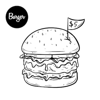 Melted cheese burger that only five dollars using black and white hand drawn style
