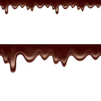 白い背景の上にシームレスに滴り落ちる溶けたチョコレート