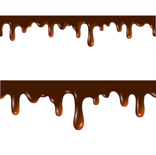 Melted chocolate seamless borders with clipping mask
