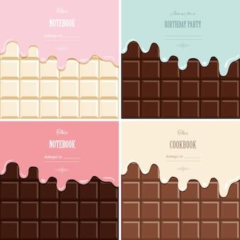 Melted cream on chocolate bar background set