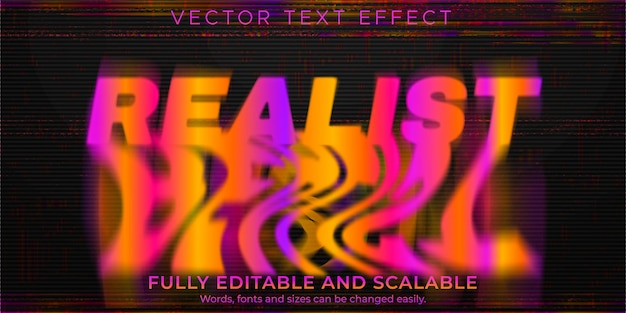 Melted glitch text effect, editable abstract and realist text style
