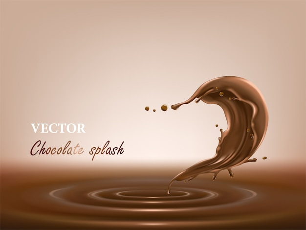 Melted, liquid chocolate splash in a realistic style