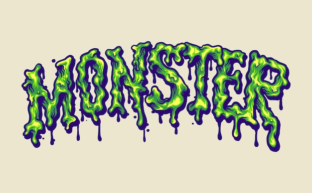 Melted monster font hand lettering vector illustrations for your work logo, mascot merchandise t-shirt, stickers and label designs, poster, greeting cards advertising business company or brands.