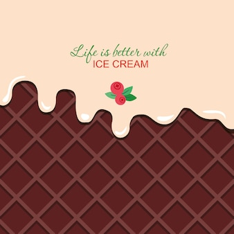 Melted vanilla cream on chocolate wafer background with sample text template